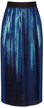 Replay Metallic Blue Pleated Georgette Skirt