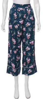 Rebecca Taylor Silk Blend Floral Cropped Pants