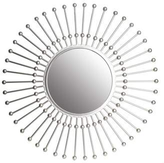 "Patton Wall Decor 30"" Silver Round Beaded Sunburst Wall Accent Mirror"
