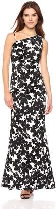 Nicole Miller New York Women's one-Shoulder Gathered Waist Gown, Black/White