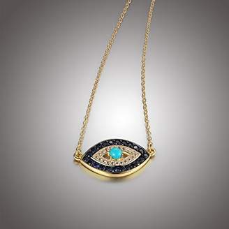18k Yellow Gold Plated Sterling Silver Stabilized Turquoise with Created and White Sapphire Evil Eye Necklace