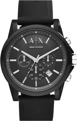 Armani Exchange Chronograph Silicone Strap Watch, 44mm