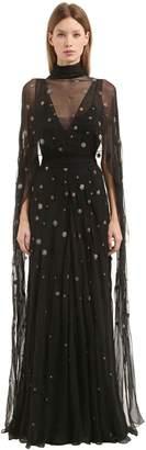 Alberta Ferretti Crystals Embellished Silk Chiffon Gown