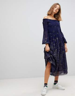 Free People Foiled Off Shoulder Midi Dress