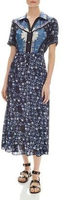 Sandro Nour Mixed-Print Midi Dress