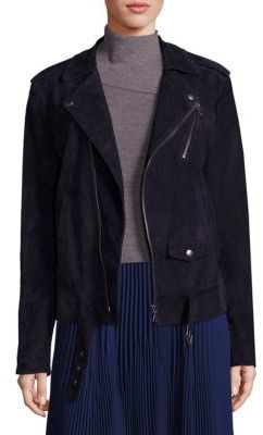 Theory Tralsmin Tidle Suede Moto Jacket $1,295 thestylecure.com