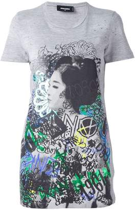 DSQUARED2 graffiti print long T-shirt