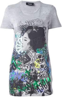 DSQUARED2 graffiti print long T-shirt