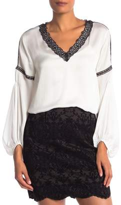 Laundry by Shelli Segal V-Neck Lace Trim Top