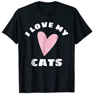 I Love My Cats Shirt With Whimsical Pink Heart