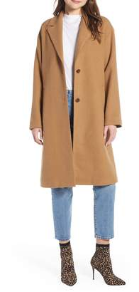 Something Navy Longline Camel Coat
