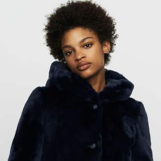 Maje Cropped hooded fur coat