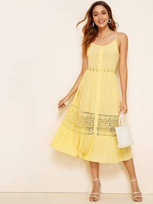 Shein Tie Back Covered Button Guipure Lace Insert Slip Dress