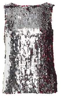 Tanya Taylor Gabby Two-Tone Sequin Sleeveless Top