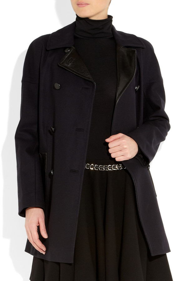 DKNY Leather-trimmed wool-blend coat