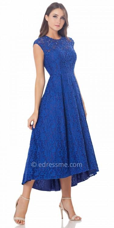 Carmen Marc ValvoCarmen Marc Valvo Infusion Lace Cap Sleeve High Low Prom Dress
