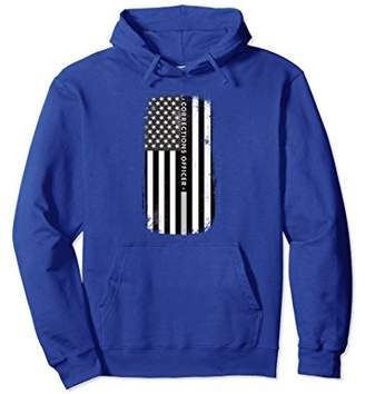 Correctional Prison Officer Thin Silver Line Flag Hoodie