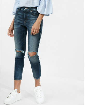 Express eco-friendly high waisted destroyed stretch cropped jean leggings