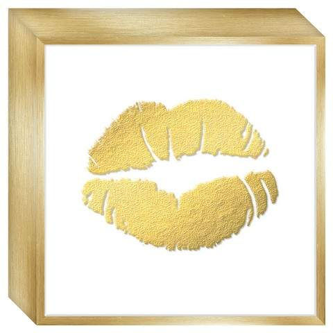 Framed Rose Gold Lips Framed wall canvas