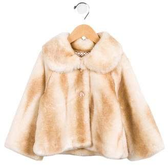 MonnaLisa Girls' Faux Fur Button-Up Jacket