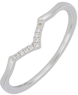 Bony Levy 18K White Gold Pave Diamond V-Shape Ring - 0.04 ctw