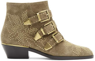 Chloé Beige Embellished Three Strap Ankle Boots