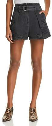 Iro . Jeans IRO.JEANS Rosa Destroyed Denim Shorts in Black Washed Gray