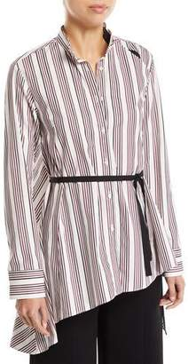 Palmer Harding palmer//harding Split Striped Button-Up Draped-Back Cotton Shirt