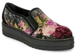 White Mountain Summit By Belton SI0487 Floral Velvet Platform Loafers