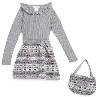 Toddler Girls Sweater Dress With Purse