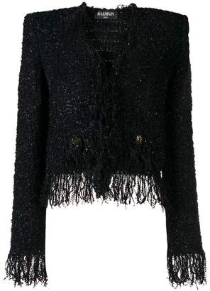 Balmain fringed tweed jacket