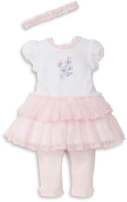 Little Me Baby's Three-Piece Garden Cotton Dress, Leggings & Headband Set