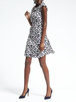 Floral Pleat-Trim Fit-and-Flare Dress $128 thestylecure.com