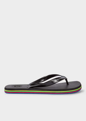 Paul Smith Men's Black 'Dale' Flip Flops With Multi-Coloured Edge