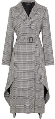 Roland Mouret Pullman Asymmetric Belted Prince Of Wales Checked Wool-blend Coat - Gray