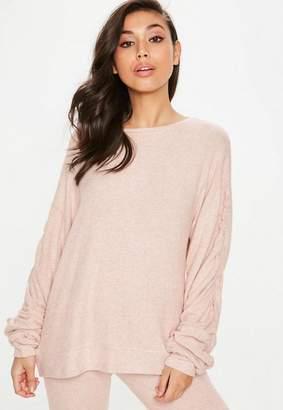 Missguided Nude Brushed Sweatshirt