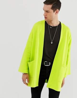 Asos Design DESIGN jersey kimono cardigan in bright green