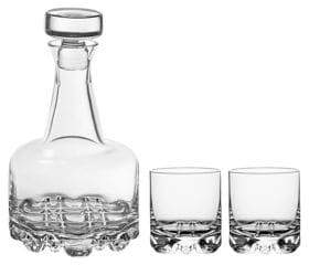 Orrefors Three-Piece Erik Glass Decanter Set