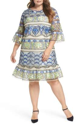 ECI Emboidered Ruffle Sleeve Dress