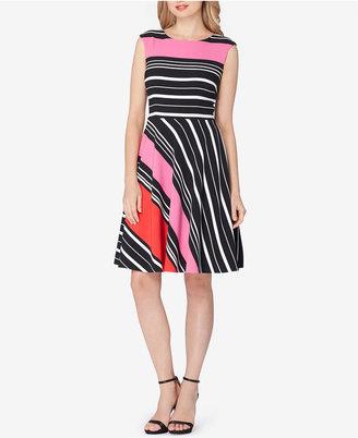 Tahari ASL Striped Fit & Flare Dress $148 thestylecure.com