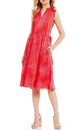 Anne KleinAnne Klein V-Neck Sleeveless Drawstring Waist Printed Georgette Midi Dress