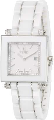 Fendi 30mm Ceramic, Diamond & Stainless Steel Square Watch, White