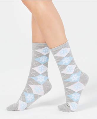 Charter Club Women Snowflake Argyle Crew Socks
