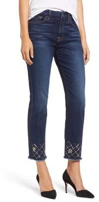 Jen7 Embellished Ankle Straight Leg Jeans