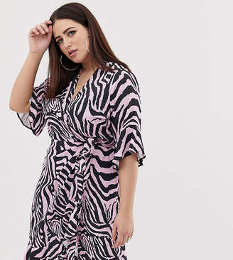 cdee4f779e3 John Zack Plus wrap midi tea dress in zebra print
