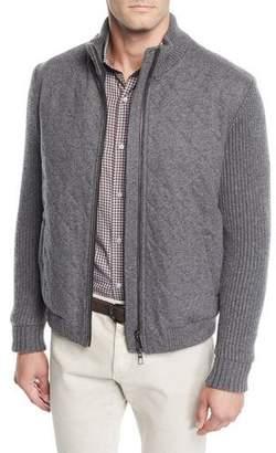 Loro Piana Men's Ryan Full-Zip Cashmere Bomber Jacket