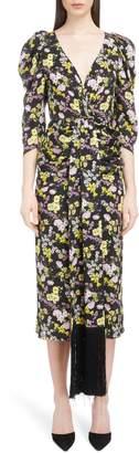 Magda Butrym Ruched Floral Print Silk Midi Dress