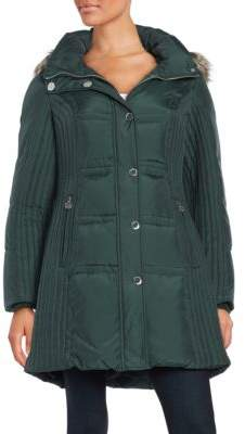 Anne Klein Faux Fur-Trimmed Quilted Jacket