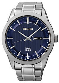 Seiko Men's Stainless Steel Blue Dial Solar Bracelet Watch