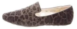 Jimmy Choo Suede Leopard Print Loafers